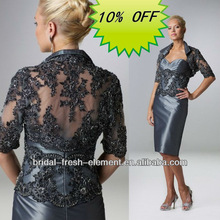 Hot Sale Noble Beaded Lace Appliqued Tea Length Mother Of The Bride Jacket Dress