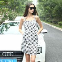 YIGELILA New Fashion Vintage Black Points Elegant Casual Dress 6369