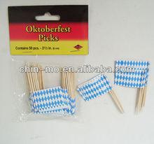 custom cheap wood paper oktoberfest party picks