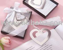 "wedding favor of ""Love Story"" Silver-Finish Heart-Shaped Bookmark with Elegant Silk Tassel"