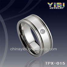 New Tungsten Ring, TPX-015, Fashion Zircon Inlaid Grooved Ring,Paypal