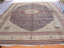 we wholesale traditional handmade silk persian rug, blue rug