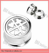 Custom poker scerw ear plug tunnel jewelry stainless steel body piercing
