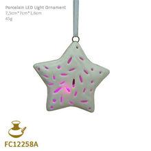 FC12258A ceramic christmas star 3d hanging ornament