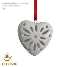 FC12259C ceramic led light heart christmas ornament