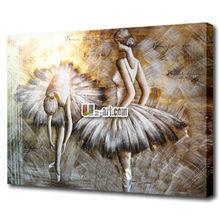 Elegant sex ballet girl dancing oil painting