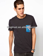 2013 new design custom pocket t shirt /Polka dot print t shirt