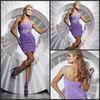 Free Shipping Sexy V-neck Knee Length Chiffon One Sholder Beaded Short Cocktail Dress 2013 New Style