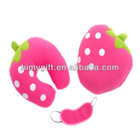 plush travel set with U neck cushion.strawberry pillow and eye cover for wholesale