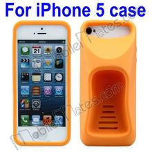 2013 Newest Protuberant Antiskid Ergonomics Curve Stand Silicone Back Cover Case for iPhone5 (Orange)