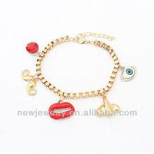 Vintage Mix and Match Charms Bracelet with Lip Evil Eye B98235