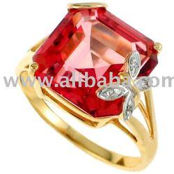 10K GOLD MYSTIC TOPAZ & DIAMOND RING