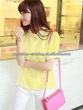 Ladies Yellow Crochet Collar Blouse Summer Chiffon Blouse