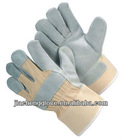 JS101CBW Cow Split Leather Palm Cotton Back Glove,Safety Glove, Rigger, China