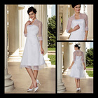 Summer cheap beach long sleeve plain white tea length wedding dress 2013 jet732