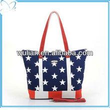 2013 New Designer Europea Fashion American Flag Canvas Accessories Leisure Life Woman Handbags
