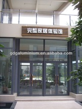 Aluminium two panel glass door for shop,spring glass door with AS glass