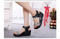 Comfortabele vestir mulheres calçados cunha não fivela de cinta branco/leopardo preto sand&aac