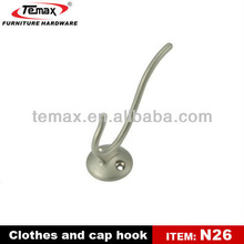 N26 Cheap Zinc Alloy Double Metal Coat Hooks