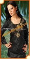 Black colored beaded cotton kurta for girls