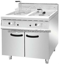 High efficency Cooking Range 2-Tank 2-Basket Gas Fryer with Cabinet/Gas fryer with temperature with temperature control