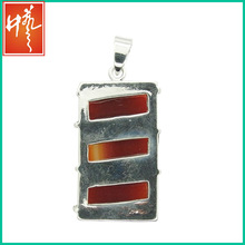 Rectangle Red agate gemstone Anique silver pendant with copper alloy IRP