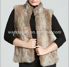 rabbit fur vest genuine fur brown grey color