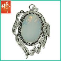 Bigger size glass opal pendant and indian rose cut diamonds jewelry