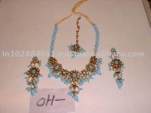 Designer Exclusive Indian Costume Fashion Imitation Jewellery ~ Artificial Gold Kundan Polki Bridal Jewellery Set