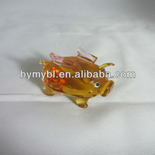 Colorful Pig Shaped Glass Gift,little glass animals