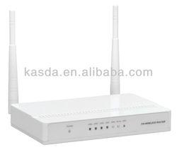 WiFi 2T2R 300Mbps Router, 4 LAN ports, 2 x3dbi External fixed Antennas KW5592