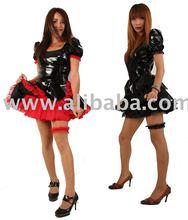 Vinyl / PVC Gothic French Maid outfit / uniform / costume, Lolita, petticoat, garter