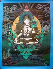 Buddha thangka - Exquisite Details White Tara Thangka Tibetan Nepal painting