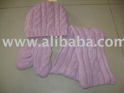 3 pcs kids hat + gloves + scarf set