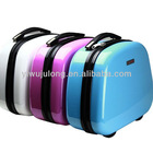 mini size hard shell plastic cosmetic suitcase storage bag with zip stand and handle too case17 inch