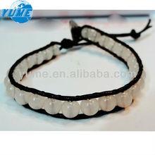 Latest Handmade Jewerly White Stone One Lap Bracelet With Leather Rope/Nature Stone 2013 China Fashion Style