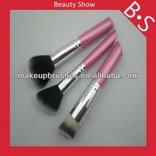 2013 top selling travel size nylon hair cosmetic brush set,mini 3pcs nylon hair powder/foundation brush set,free samples