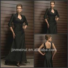 Custom Made Elegant Black A-line Floor Pleat Satin Mother Of The Bride Dress With Jacket