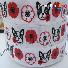 25mm width ribbon dogs printed white grosgrain ribbon