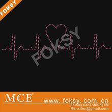 Heartbeat rate rhinestone product hot fix motif transfer design