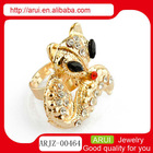 New design 2013 top fashion personalized charm punk rhinestone cat finger ring