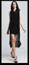 latest design chiffon sleeveless dress with fashion irregular bottom in 2013