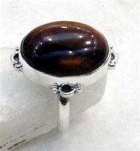 Tiger's eye925 Silver Ring Size UK/US:Q/8 R121