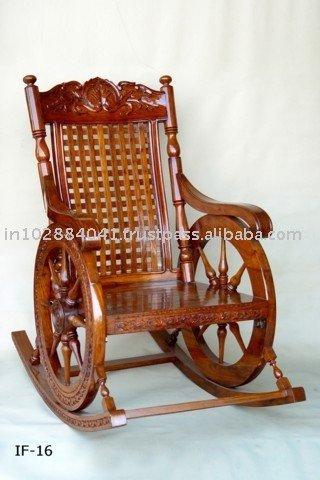Wooden Rocking Chair ~ Designer Garden Chair ~ Glider Leisure Chair ...
