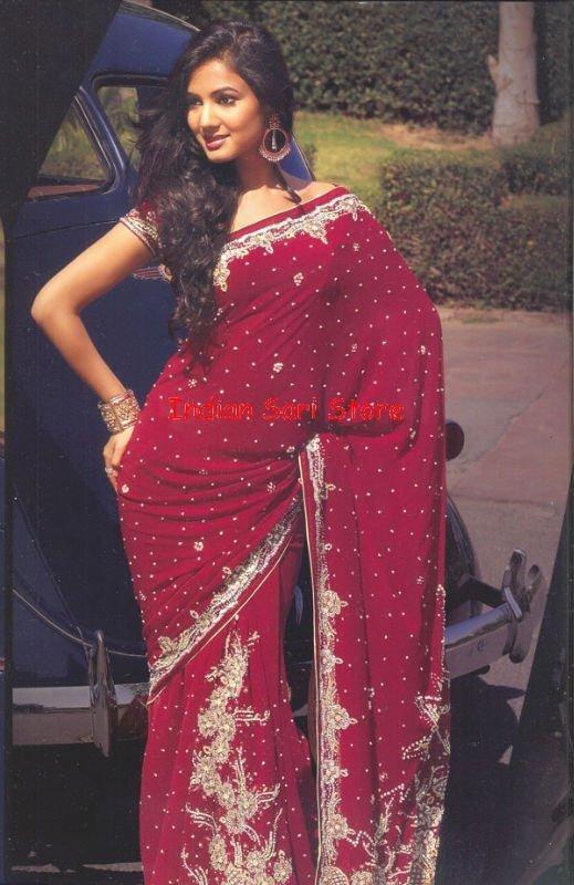 Designer de mariage indien brodé Saree Sari