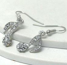 lead safe/zinc alloy/soild metal/clear stone/music note/drop earring