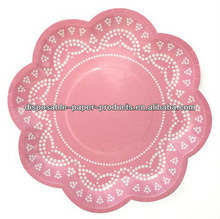 Disposable Light Pink Scallop Lovely Lace Paper Plates Paper Party Dessert Plate
