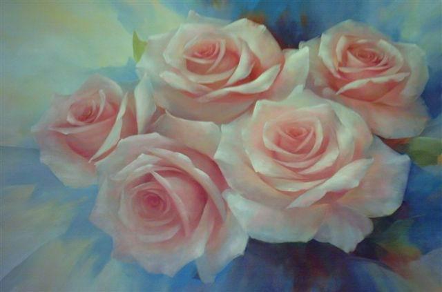 Cuadros de rosas pintados al oleo - Imagui