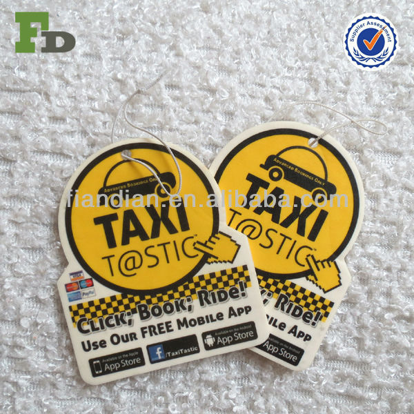Yellow Paper Air Freshener for Taxi