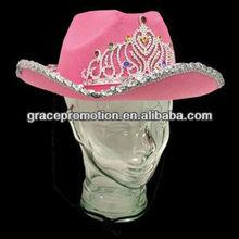 Pink Felt Rhinestone Tiara Cowboy Hat
